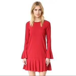 Theory Red Shift Dress with Bell Sleeves